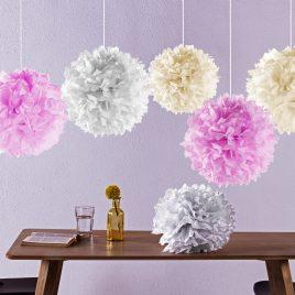 Laneta Seidenpapier Pompom – 12 Stück in verschiedenen Farben – altweiss rosa creme